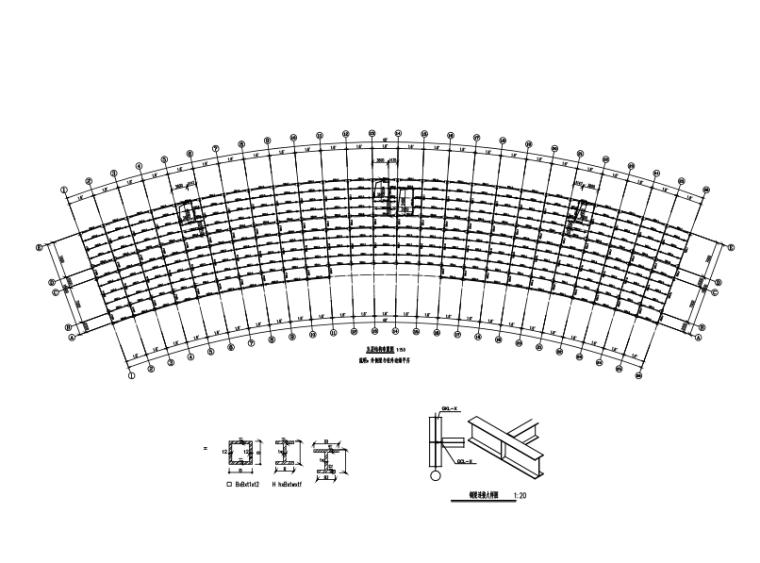 6层扇形办公室钢框架建筑结构施工图