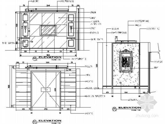 [江苏]沿海城市庄园现代三层别墅装修施工图立面图