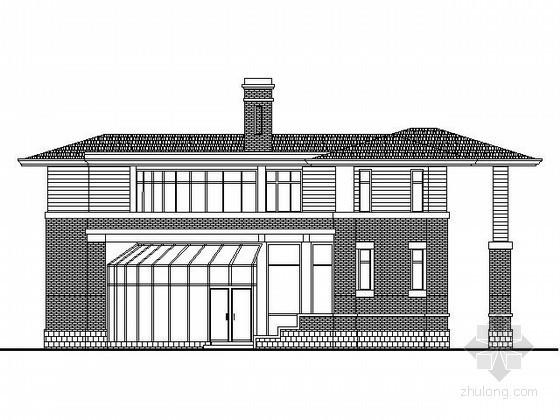 某二层北美风格弧形别墅建筑方案图