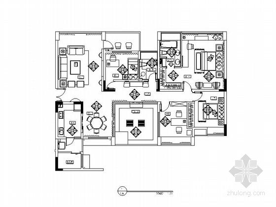 [重庆]高档水景小区三居室欧式风格样板房室内装修图(含效果图)