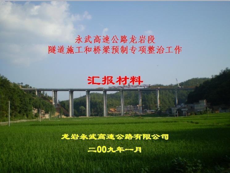 永武龙岩段隧道施工和桥梁预制专项整治工作汇报材料