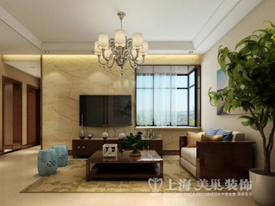 基正盛世新天95平方三室两厅新中式装修效果图高清图片