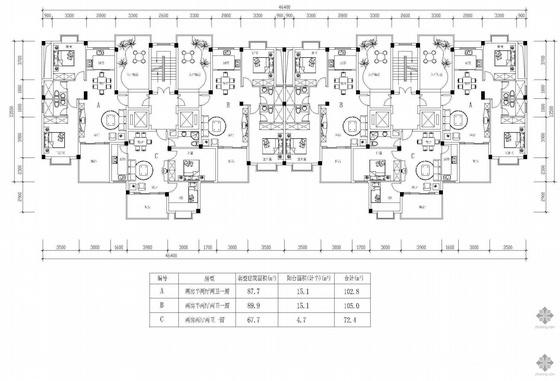塔式高层一梯两户户型组合(103/105/72)