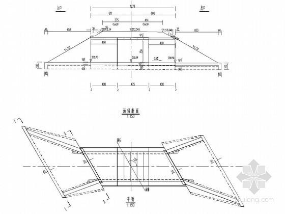 1-4米钢筋混凝土盖板涵布置图(斜交30度)