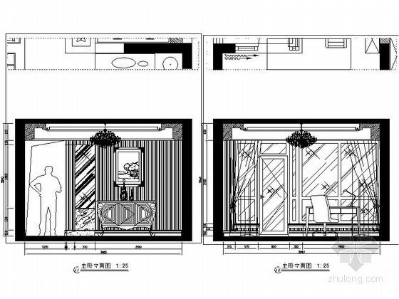 [重庆]某欧式四居室卧室立面图