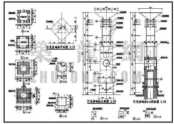 广场发光灯柱效果及施工图-4
