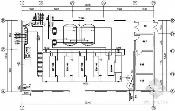 某地源热泵中央空调机房施工图
