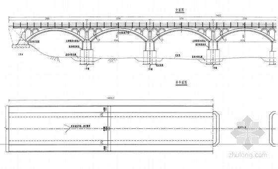 [湖北]六跨实腹式圬工板拱桥加固设计图18张(破损裂缝露筋)
