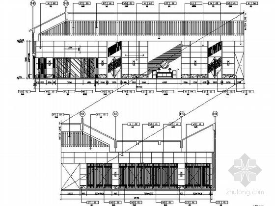 [苏州]环抱独墅湖水天一色苏式恬静会议酒店设计施工图(含方案及实景)会议过厅过道立面图
