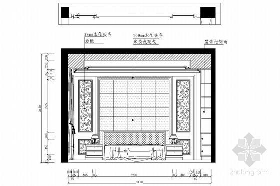 花园式住宅区欧式风格三层别墅装修图(含效果图) 卧室立面图