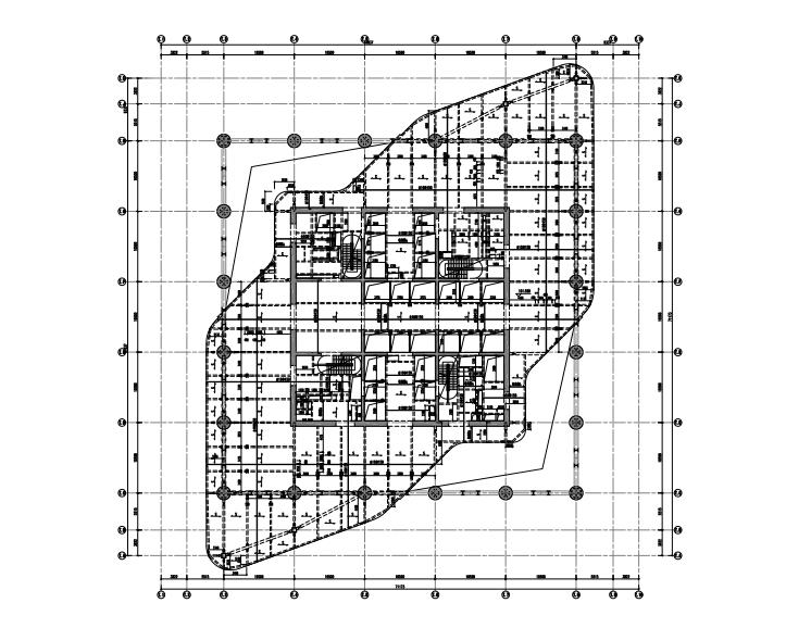 [郑州]64层框架+核心筒+环带桁架结构超高层中央广场施工图(2012)