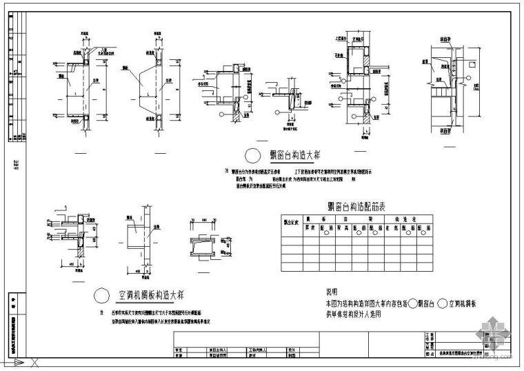 空调机搁板配筋节点资料下载-某结构节点构造详图(飘窗台、空调机搁板)(图集)