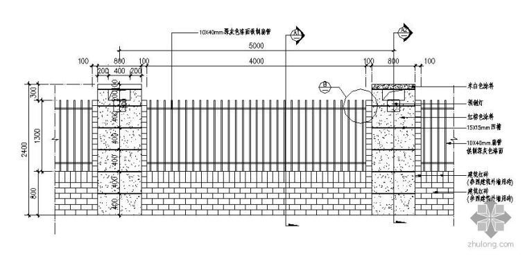 某小区围墙大门施工大样图