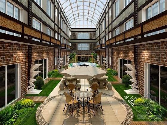 酒店休息中庭景观设计3d模型下载