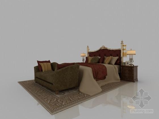 温馨舒适床3D模型下载