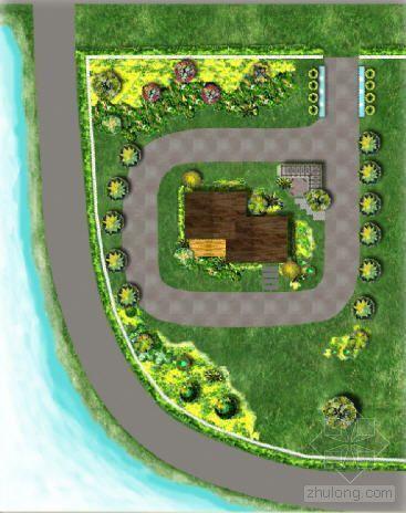 某湖畔工作室庭院设计图
