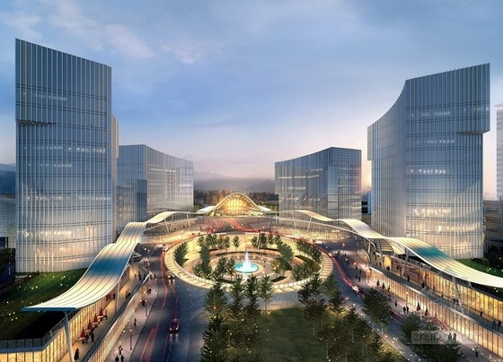 [福建]城市核心区软件园地块规划设计方案文本-城市核心区软件园地块规划效果图