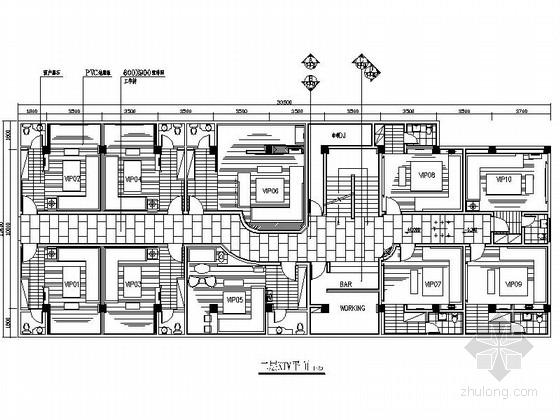 VIP包房室内装修施工图资料下载-[广东]某现代KTV VIP包房室内装修施工图