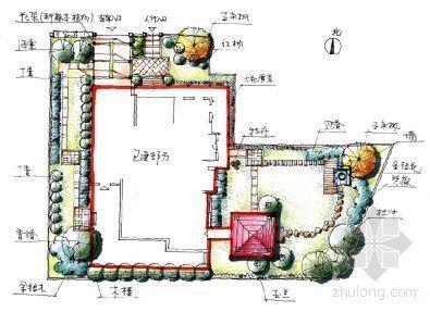 北京某高档别墅区庭院方案手绘设计