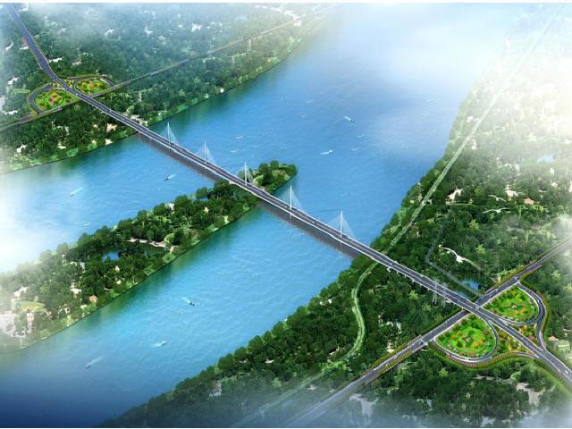 [湖南]主桥斜拉桥连续箱梁匝道桥跨河大桥及连接线工程图纸1532张(含道路照明交通)