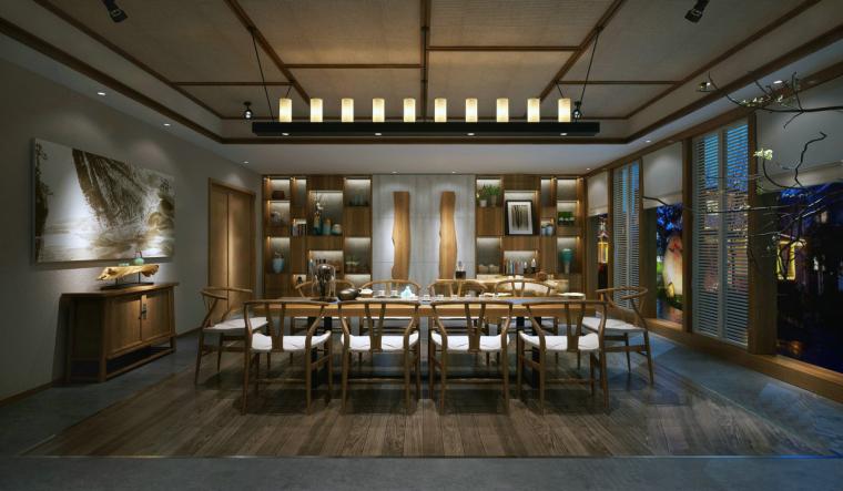 木质现代简约餐厅3D模型