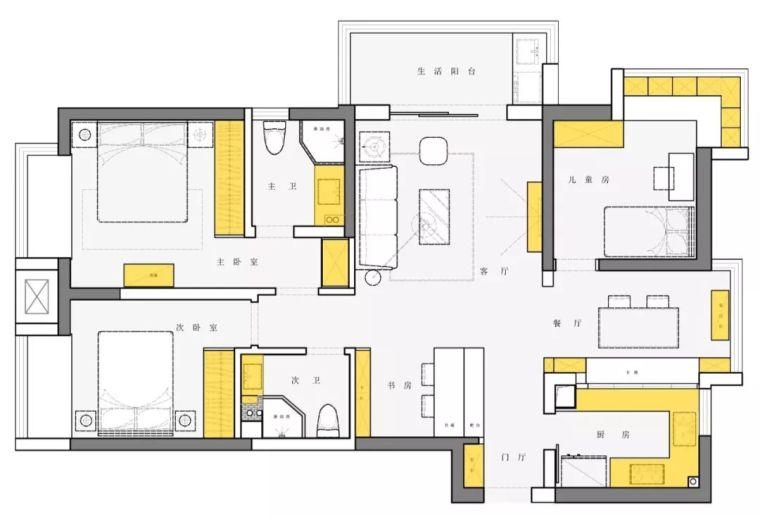 105m²北欧三房,独特的室内窗让空间明亮通透!