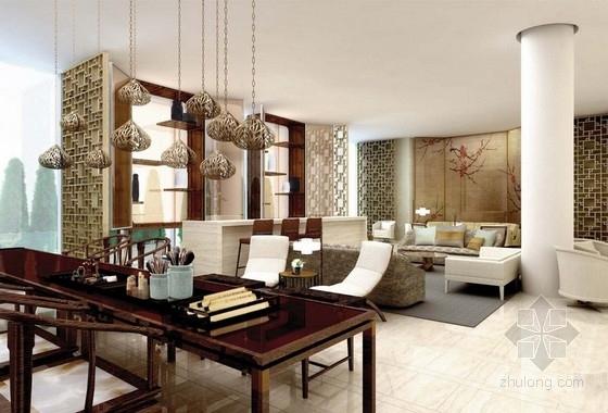 [上海]某中式风格大酒店室内设计方案图
