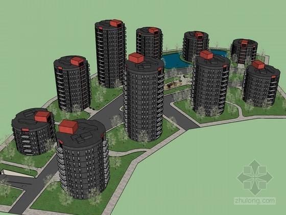 圆形建筑SketchUp模型下载