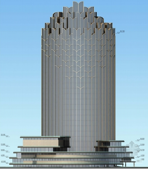 [西宁]超高层框架剪力墙结构五星级酒店建筑设计方案文本(土豪金表皮)-超高层框架剪力墙结构五星级酒店立面图
