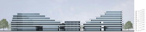 滨水现代风格退台式商业综合体立面图