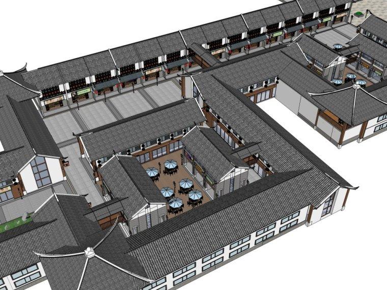仿古中式风格两层仿古建商业街建筑(su模型)