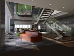 现代开放式办公区3D模型下载