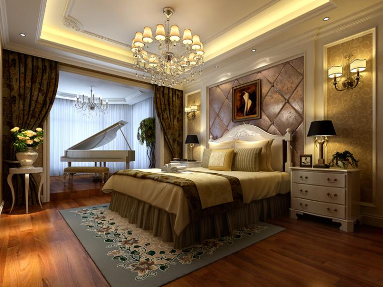 舒适欧式卧室3D模型下载