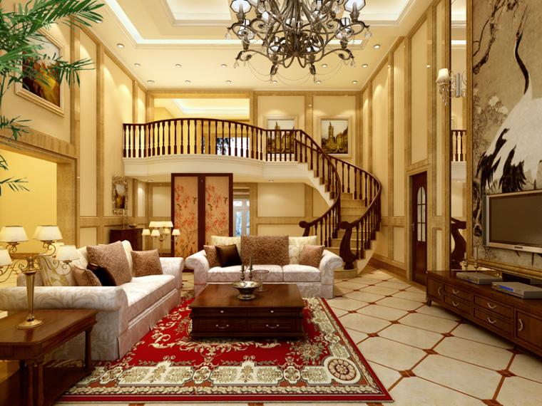 大气别墅客厅3D模型下载