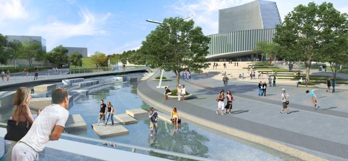 [浙江]流动地景自然生态大学校园景观规划设计全套图纸(方案+CAD施工图+PDF施工图+实景图)-中心广场景观效果图