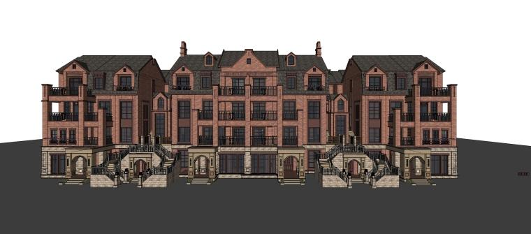 英式风格多层住宅建筑设计SU模型