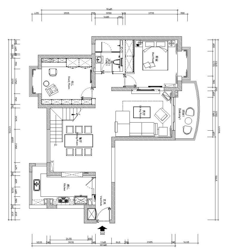 [苏州]现代简约风格MOHO复式公寓施工图设计(附效果图)
