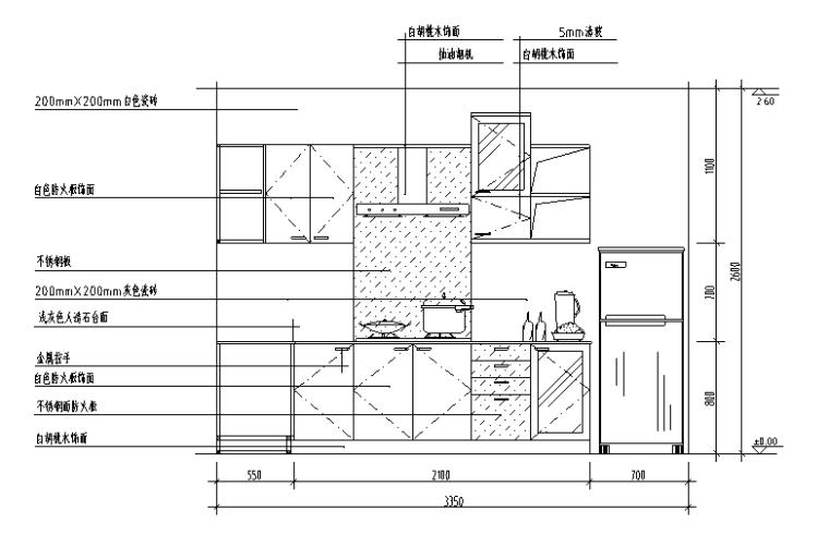 厨房经典分空间CAD立面图库