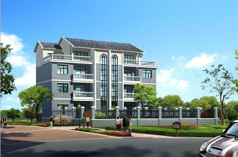 四层居住区现代风格别墅建筑设计(包含效果图+CAD)