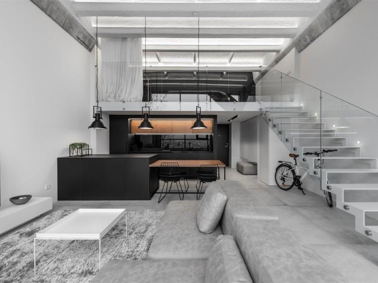 立陶宛IDwhite简约的工业阁楼公寓