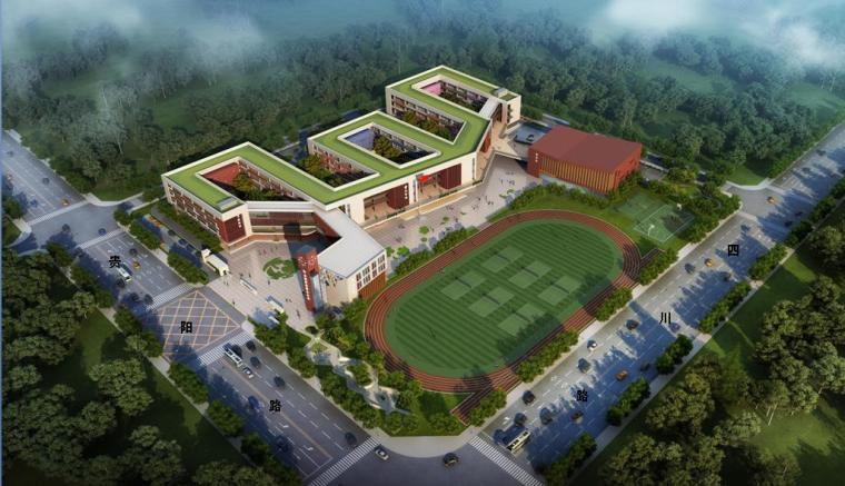[安徽]现代风格折线体量72班小学校园规划设计方案文本