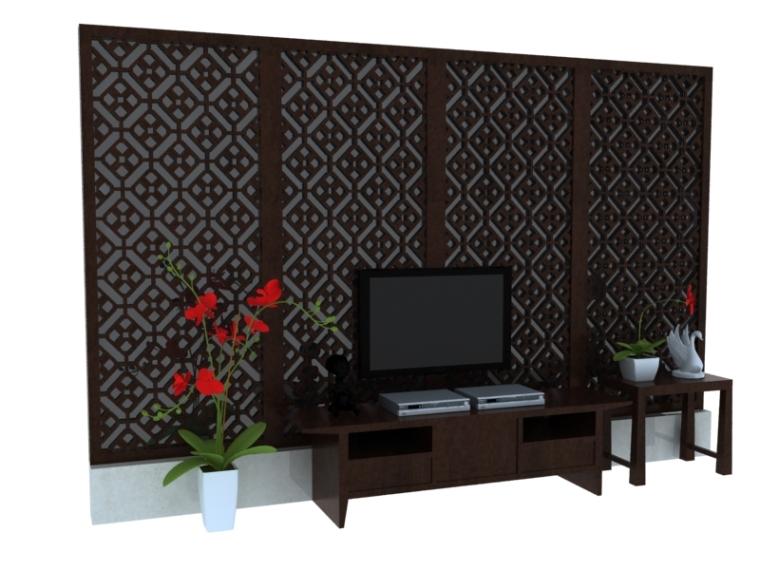 漂亮电视墙3D模型下载