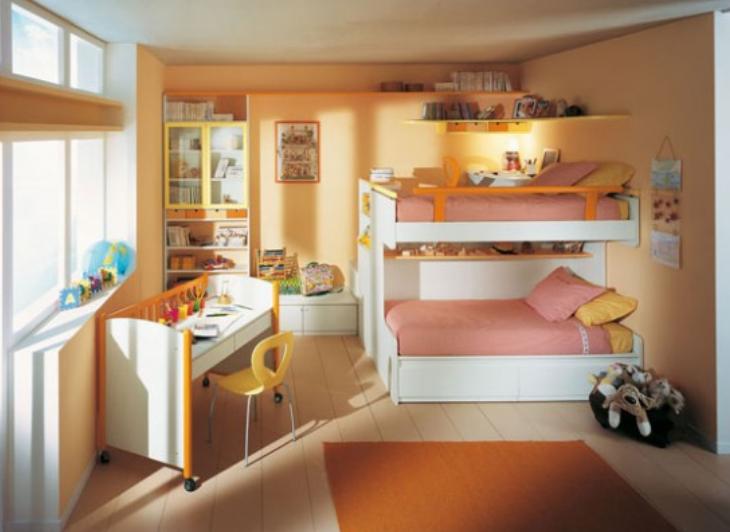 缤纷儿童房美观与使用兼具二居室实景图