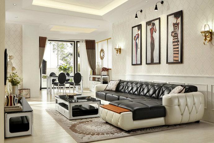 现代简欧风格公寓大户型客厅装修效果图