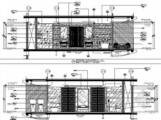 [海南]雅致海滨地带五星级度假酒店客房装修施工图(含全套酒店方案)标准双床间立面图