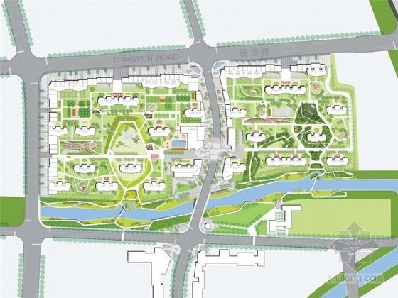 [杭州]滨水自然时尚高档居住区景观概念规划设计方案2套(著名景观公司)