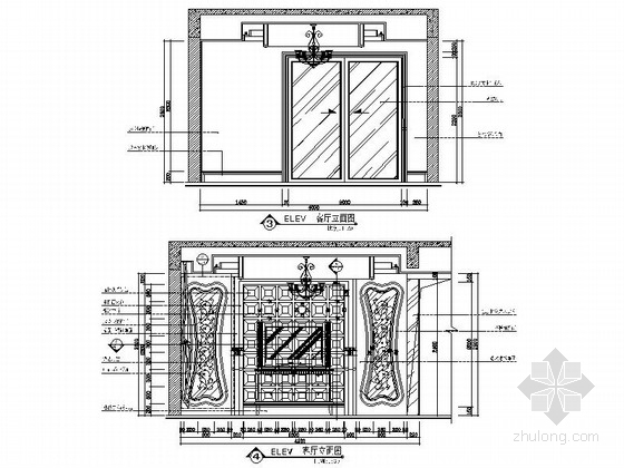 [安徽]奢派港湾小区简欧三居室样板房装修施工图客厅立面图