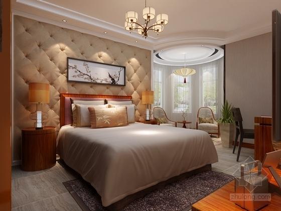 [银川]独具个性高层区混搭风格三居室样板间装修施工图(含效果及3Dmax模型)卧室效果图