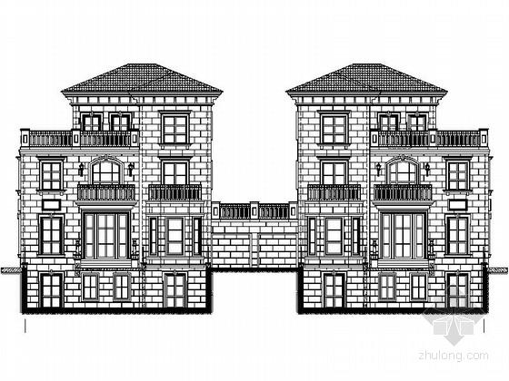 [安徽]三层西班牙风格双拼别墅建筑设计施工图(知名设计院)