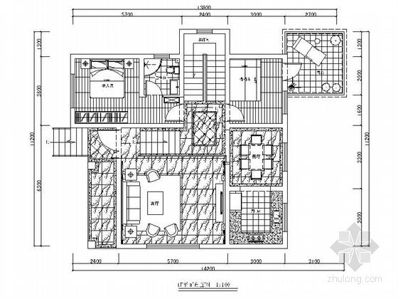 [四川]三层欧式风格别墅室内装修施工图(含方案效果报价表)